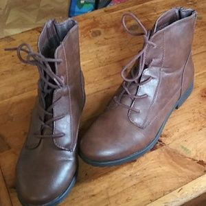 Style &Co. Brown leather ankle boots
